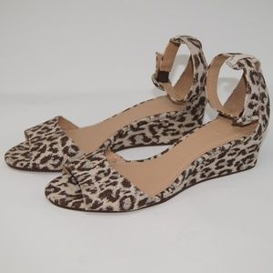 NEW J. Crew Laila wedges in leopard print 7.5